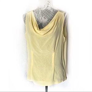 Doncaster Yellow Silk Cowl Neck Tank Top Shirt 14